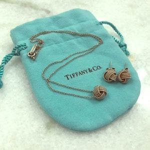 Tiffany knot necklace and earrings